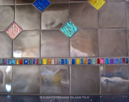 "American Made Lightstreams Glass Tile, Accented Jewel Inlay kitchen backsplash accented with strands of Lightstreams Jewel Inlays glass accent tile strands, and 2""x2"" Jewel glass accent tiles also used for accent tile, pool tile, floor tile, wall tile, bathroom tile, and kitchen tile"