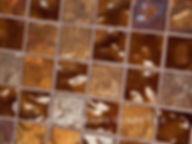 High quality American made Lightstreams Gold Iridescent Collection Bronze glasstiles are a rich brown color on the shiny side of the tile, with metallic iridescent colors on the reverse side. American made Lightstreams Glass Tile is used for pool tile, spa tile, waterline tile, step marker tile, accent tile, wall tile, fountain tile, floor tile, bathroom tile, shower tile, kitchen tile, and kitchen backsplash tile.