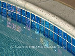 American made Lightstreams Glass Tile Renaissance Collection Aqua Blue tile for waterline tile, pool tile, and spa tile