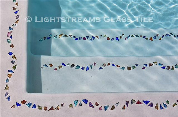 "American Made Lightstreams Glass Tile, Lightstreams Shell Beach Decorative Glass Tile Strands  ""Jewelry for Your Swimming Pool"", Accent tile that can be used for pool tile, floor tile, spa tile, step marker tile, step accent tile, wall tile, waterline tile, kitchen tile, glass backsplash tile, bathroom tile, and fountain tile"
