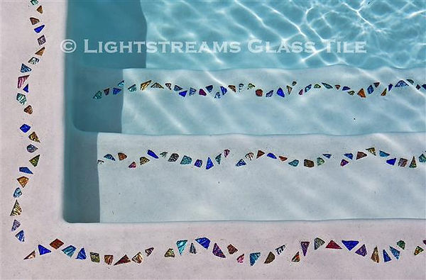 """American Made Lightstreams Glass Tile, Lightstreams Shell Beach Decorative Glass Tile Strands  """"Jewelry for Your Swimming Pool"""", Accent tile that can be used for pool tile, floor tile, spa tile, step marker tile, step accent tile, wall tile, waterline tile, kitchen tile, glass backsplash tile, bathroom tile, and fountain tile"""