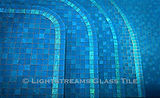 American made Lightstreams Glass Tile all glass tile pool in Renaissance Collection Turquoise Blue glass pool tile and spa tile with Secret Garden Jewel accent tile as pool step markers