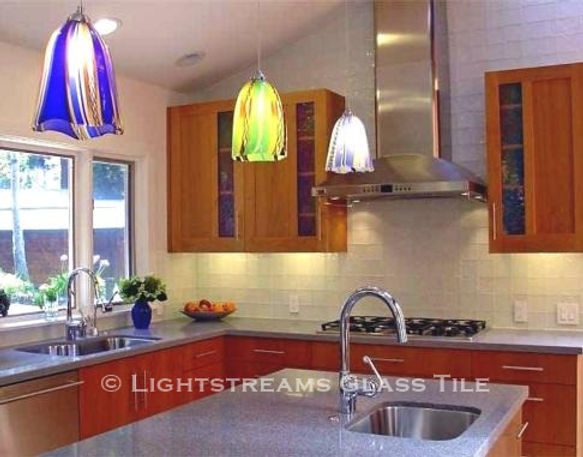 American Made Lightstreams Glass Tile Renaissance Collection Misty used as backsplash tile in this photo. Can also be used for pool tile, spa tile, wall tile, floor tile, waterline tile, step marker tile, spillway tile, fountain tile, shower tile, bathroom tile, kitchen tile, and accent tile.