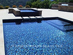 American made Lightstreams Glass Tile all glass tile pool in Gold Iridescent Collection Steel Blue, Silverado, and Bronze glass pool tile