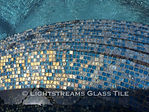 American Made Lightstreams Glass Tile  Gold Iridescent Collection Steel Blue Pool Tile Spa Tile and Wall Tile with iridescent tile as step markers