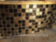 American Made Lightstreams Glass Tile Gold Iridescent Collction Obsidian black tile is used for this all tile fountain. Can also be used for pool tile, spa tile, fire pit tile, wall tile, waterline tile, step marker tile, exterior tile, interior tile, accent tile, iridescent tile, backsplash tile, kitchen tile, bathroom tile, floor tile, and shower tile