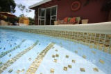 American made Lightstreams Glass Tile Renaissance Absolute White all glass tile pool tile with 24k gold accent tile as step markers and on the pool waterline.