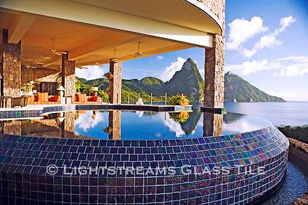 American made Lightstreams Glass Tile is used for pool tile, spa tile, waterline tile, step marker tile, wall tile, fountain tile, floor tile, accent tile, bathroom tile, shower tile, kitchen tile, and kitchen backsplash tile.