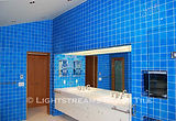 American Made Lightstreams Glass Tile  Renaissance Collection Turquoise Blue Glass Bathroom Tile, Wall Tile, & Shower Tile