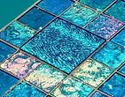 American made Lightstreams Glass Tile Renaissance Collection Aqua Blue pool tile and spa tile on pools waterline and as accent tile and step markers