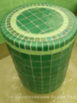 American Made Lightstreams Glass Tile Renaissance Collection Celadon green tile is one of the tile colors of this green tile mixture that makes this all tile bench