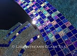 American made Lightstreams Glass Tile Renaissance Colletion Royal Blue tile as pool tile waterline tile and spa tile with the iridescent tile as step marker tile