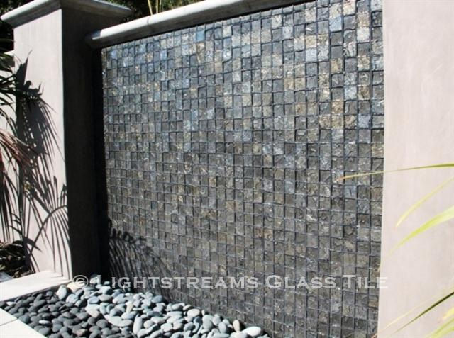 American Made Lightstreams Glass Tile Gold Iridescent Collection Silverado grey tile / silver tile is used for this all tile fountain tile and wall tile. Can also be used for pool tile, spa tile, fire pit tile, wall tile, waterline tile, step marker tile, exterior tile, interior tile, accent tile, iridescent tile, backsplash tile, kitchen tile, bathroom tile, floor tile, and shower tile