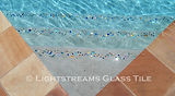 American made Lightstreams Glass Tile  Custom Jewel Glass Waterline Tile  Shell Beach Glass Pool Step Accent Tiles as step markers Renaissance Collection Root Beer Iridescent Glass Fountain Tile  Red River Jewel Glass Accent Tile Spa Spillway Tile pool tile spa tile