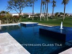 American made Lightstreams Glass Tile pool tile, waterline tile, and spa tile in Gold Iridescent Collection Steel Blue tile