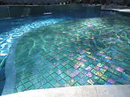 American made Lightstreams Glass Tile Renaissance Collection Celadon green tile as pool tile, waterline tile, and spa tile