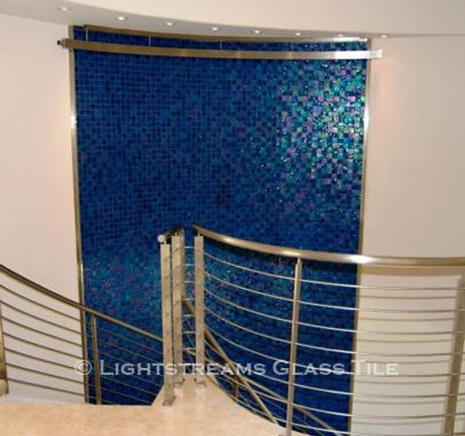 American Made Lightstreams Glass Tile Renaissance Collection Peacock Blue tile looks beautiful as indoor tile wall tile, and fountain tile