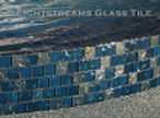American made Lightstreams Glass Tile all glass tile pool in Gold Iridescent Collection Steel Blue glass pool tile and spa tile
