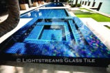American made Lightstreams Glass Tile all glass tile pool and spa in Renaissance Collection Peacock and Aqua blue glass pool tile and spa tile