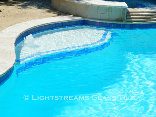 American Made Lightstreams Glass Tile Renaissance Collection Sky Blue tile is used as pool tile waterline tile, fountain tile, step marker tile, accent tile, pool tile, and spa tile