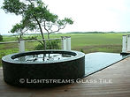 American made Lightstreams Glass Tile all glass tile pool and spa in Renaissance Collection Dark Silver and Celadon green glass pool tile and spa tile