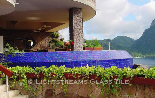 American Made Lightstreams Glass Tile Renaissance Collection Royal Blue tile for this all tile pool tile, spa tile, exterior tile at this luxury St. Lucia resort.