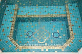 American made Lightstreams Glass Tile all glass tile pool and spa in Gold Iridescent Collection Aquamarine glass pool tile and spa tile with 24k gold accent tile as step markers