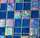 High quality American Made Lightstreams Glass Tile Renaissance Collection II Peacock 2.0 glass tiles are a deep jewel-tone blue / green color on one side, with rich rainbow iridescent colors on the reverse textured side. This blue tile / green tile can also be used for pool tile, spa tile, fountain tile, fire pit tile, wall tile, waterline tile, step marker tile, exterior tile, interior tile, accent tile, iridescent tile, backsplash tile, kitchen tile, bathroom tile, floor tile, and shower tile