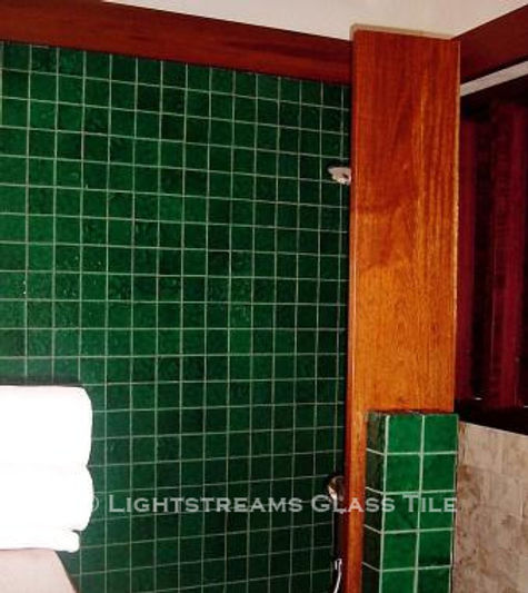 American Made Lightstreams Glass Tile Renaissance Collection Jade green tile is used around this wall tile, shiny side only showing. It can also be used as pool tile, spa tile, bathroom tile, shower tile, floor tile, waterline tile, backsplash tile, step marker tile, and kitchen tile