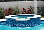 American Made Lightstreams Glass Tile  Custom Color Mix Spa, Waterline, and Glass Tile Wall tile, spa tile, accent tile step markers blue tile, red tile, pool tile