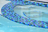 American made Lightstreams Glass Tile mix of blue tile for pool tile, spa tile, and waterline tile with glass tile step markers