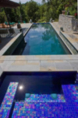 American Made Lightstreams Glass Tile Renaissance Collection Royal Blue tile for this all tile spa tile, pool tile, exterior tile. This swimming pool tile is using only the iridescent tile side of Lightstreams Royal Blue tile