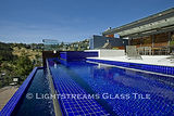 American made Lightstreams Glass Tile all glass tile pool in Renaissance Collection Royal Blue glass pool tiles.