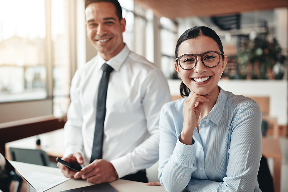 smiling-businesswoman-working-with-a-col