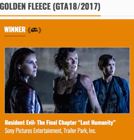 Resident Evil Final Chapter Trailer featuring 'Hail The Machine' Wins the Golden Fleece Awar