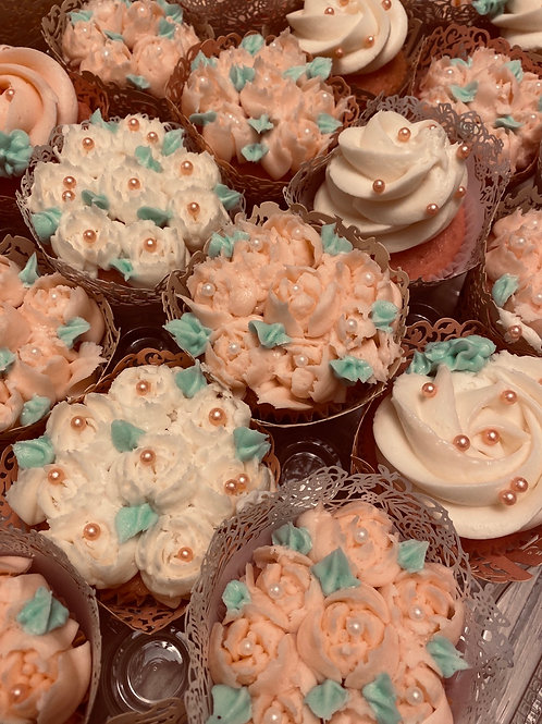 Beautifully decorated specialty cupcakes