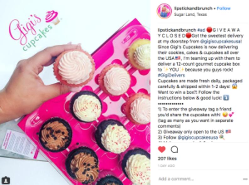 Gigi's Cupcakes delivery program, Lipstick and Brunch Instagram photo, BizCom influencer campaigns