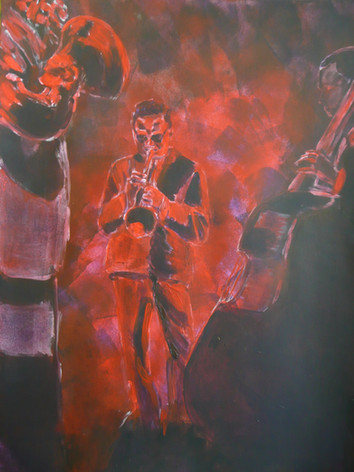 Miles with Band in red