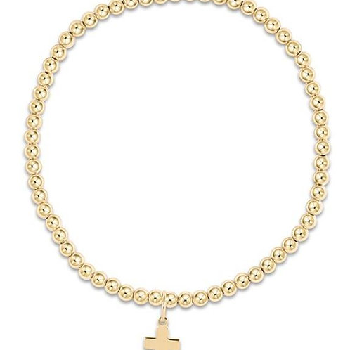 Classic Gold 3mm Bead Bracelet - Believe Charm