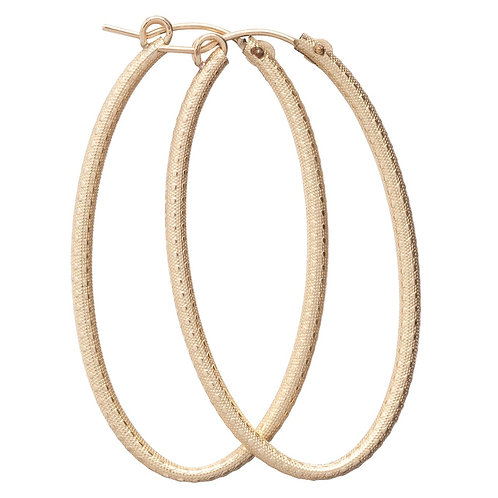 "Oval Gold 2"" Hoop - Textured"