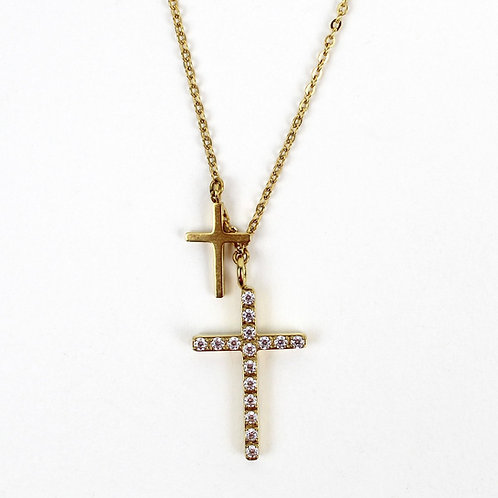 Faith 2 Crosses Necklace