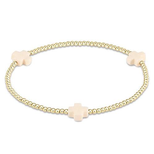 Signature Cross Gold Pattern 3mm Bead Bracelet