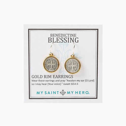 Benedictine Blessing Gold Rim Earrings - SILVER __ EBGRM