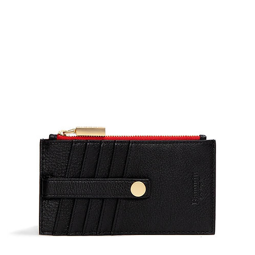 210 WEST Black Leather/Brushed Gold/Red-Zip