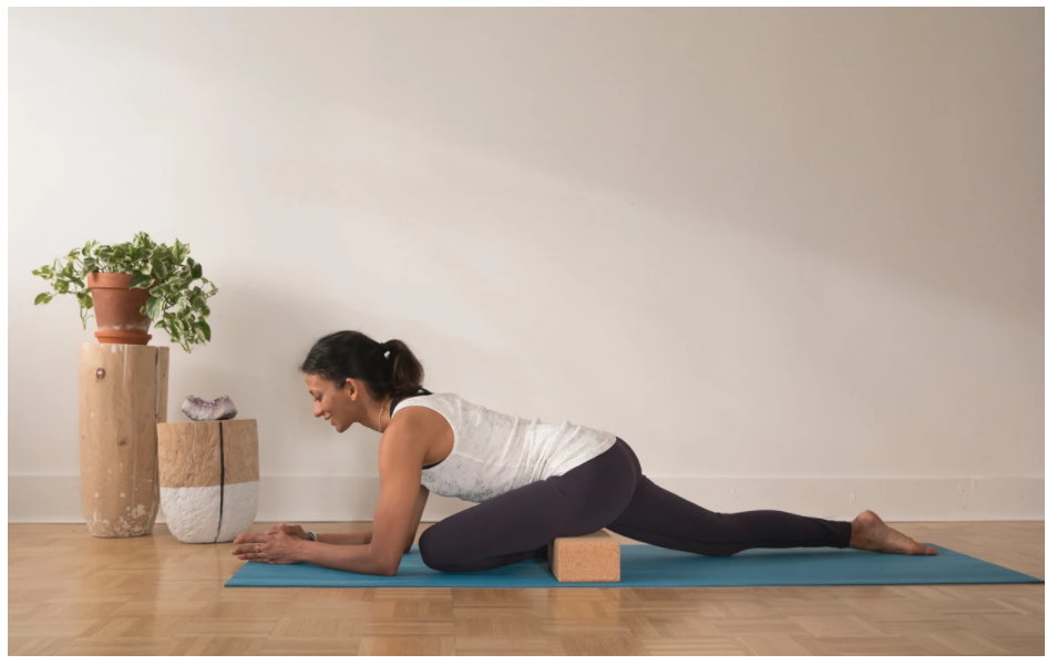 Pigeon Pose with a yoga block