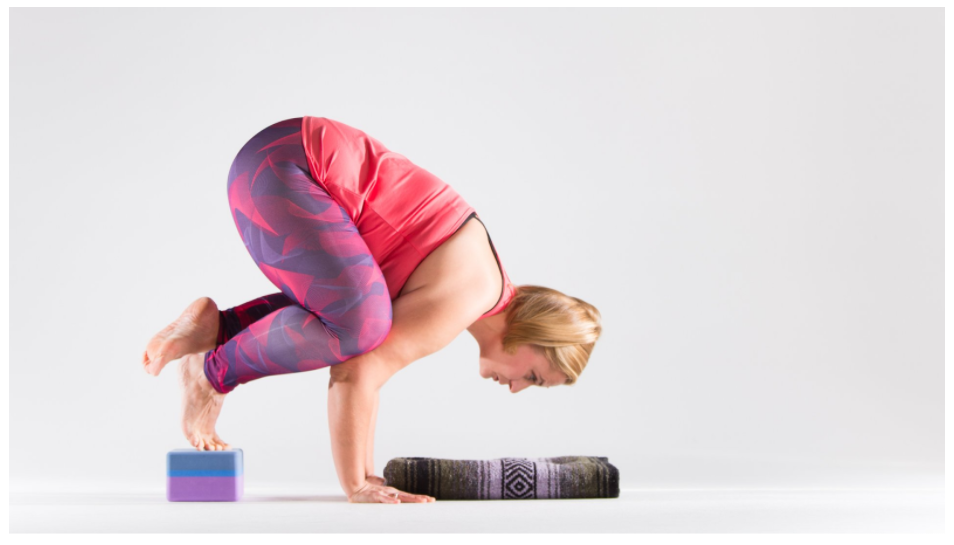 crow pose using yoga blocks