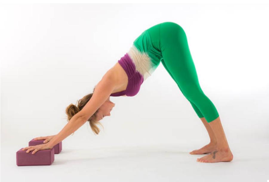 downward dog using yoga block