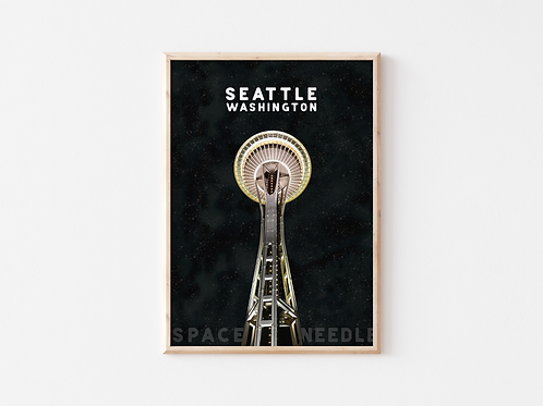 Seattle Space Needle A4 Print