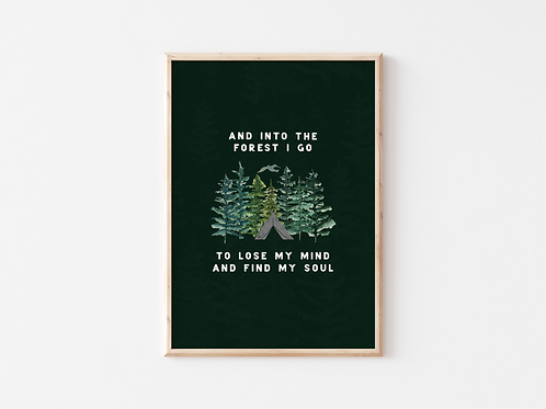 And Into The Forest I Go Illustration A4 Print