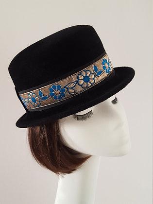 Fascia Intercambiabile Blu Argento per Cappelli JCN, Stile Neo Romantico